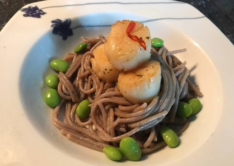 Scallop Miso Pasta with Edamame