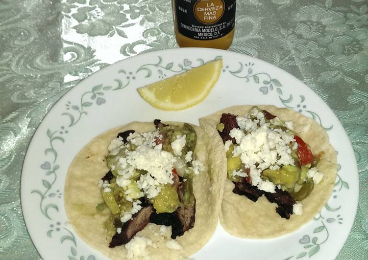Steps to Make Homemade Carne asada tacos al mojo Lemon