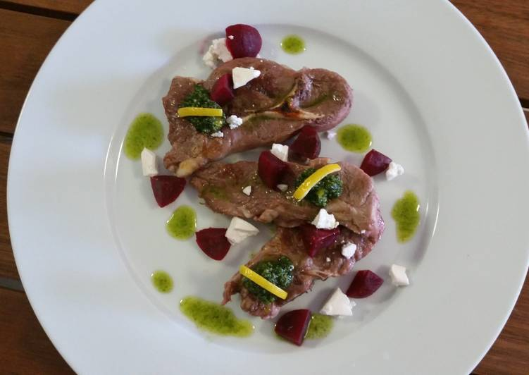 Discover How to Improve Your Mood with Food BAKED FETTA and BEETROOTS + PESTO OIL with LAMB CHOPS