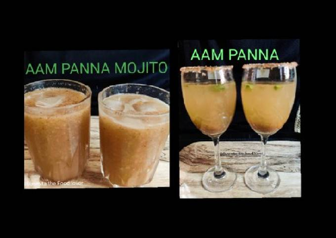 Aam panna base mix, aam panna chilled drink and aam panna mojito