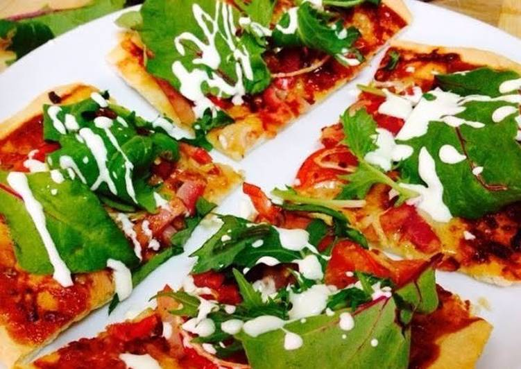 Cheese & Bacon Pizza with Leafy Greens