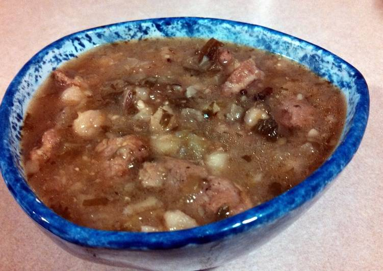 Tomatillo Chili with Pork and Hominy