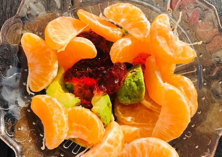 Salade de mandarines, Avocat et gélatine de fraises 0% sucre