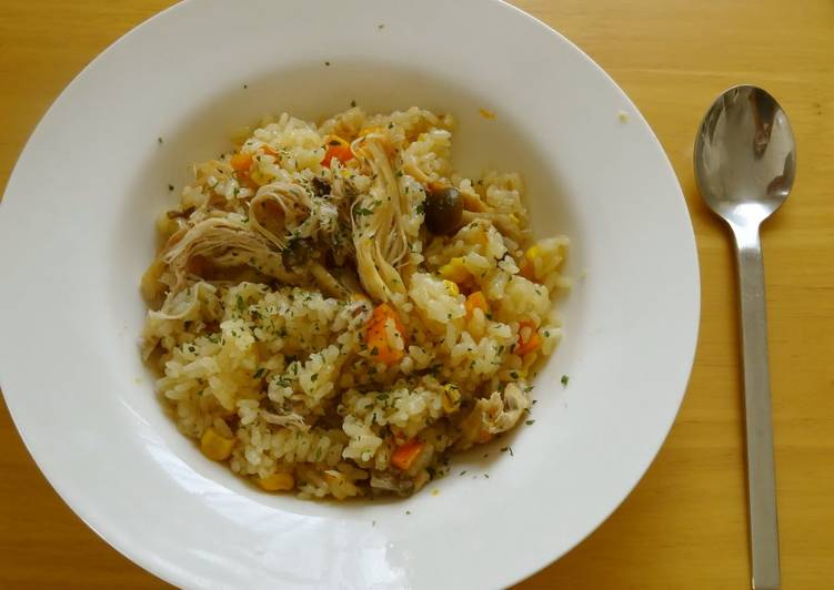 Butter Soy Sauce Pilaf with Roast Chicken and Shimeji Mushrooms