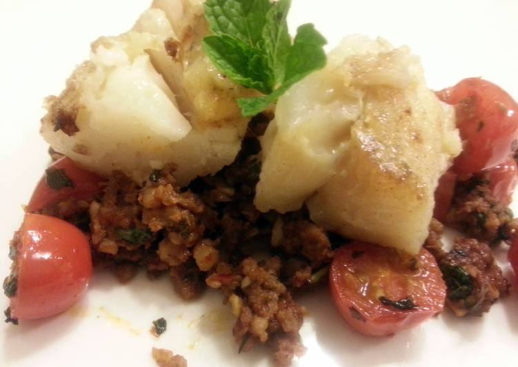 How to Cook Delicious Pan seared cod with homemade chorizo