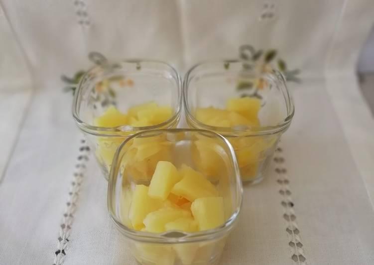 Verrine crème de citron, ananas et quatre quarts
