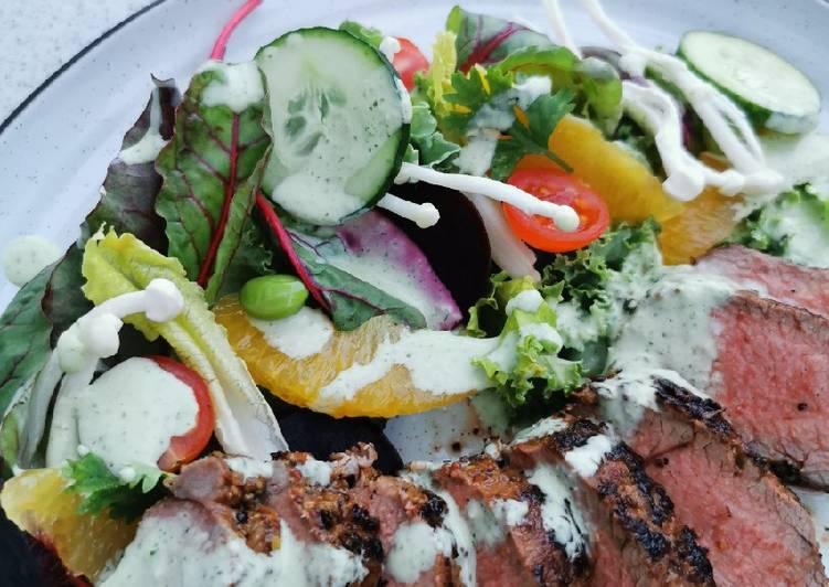 Marinated Lamb saddle, citrus beet salad with Ranch dressing