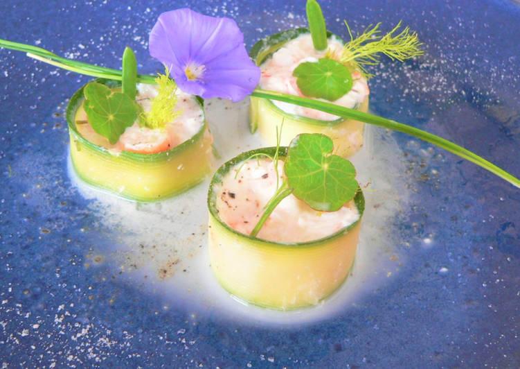 Makis aux crevettes bouquet,vinaigrette au lait d'amandes