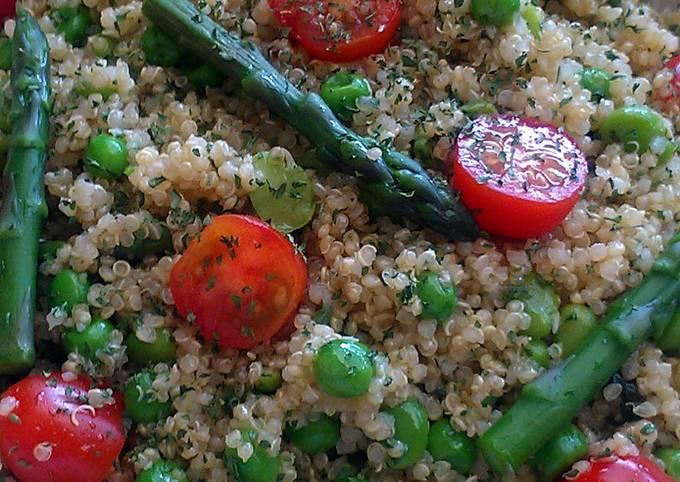 Vickys Quinoa Salad with Peas, Beans & Asparagus, GF DF EF SF NF