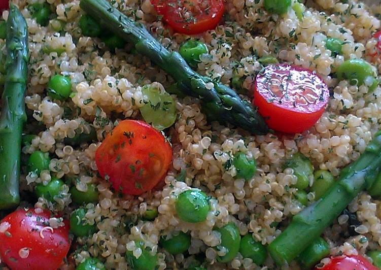 Vickys Quinoa Salad with Peas, Beans & Asparagus, GF DF EF SF NF