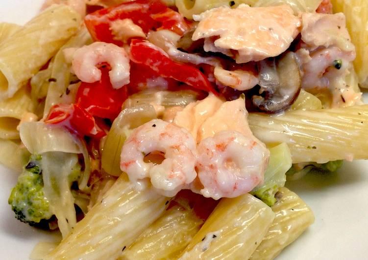 Salmon and Shrimp Pasta