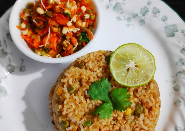 15 Minute Recipe of Summer Brown rice tawa pulav