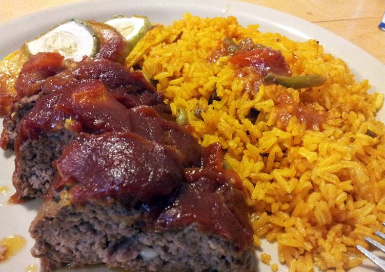 Yellow rice W/Red Beans & Surprise Meatloaf