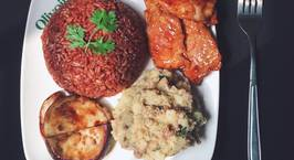 Hình ảnh món Cơm gạo lứt + khoai tây nghiền + thịt lợn áp chảo+cà tím áp chảo