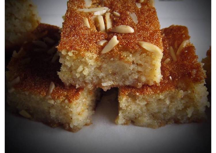 Step-by-Step Guide to Prepare Quick Basbousa with rose & orange blossom water