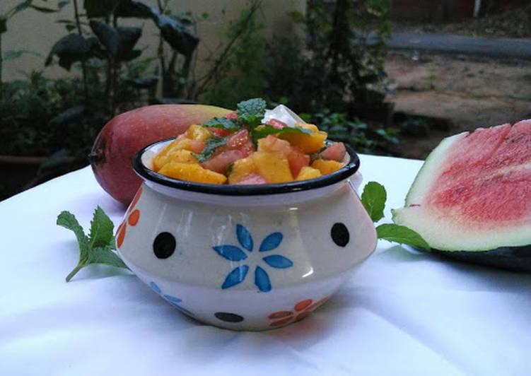 Recipe: Delicious Mangoand watermelon salad