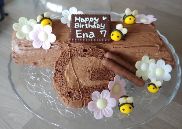 Recipe of Perfect Chocolate log birthday cake #cookingwithcookpad