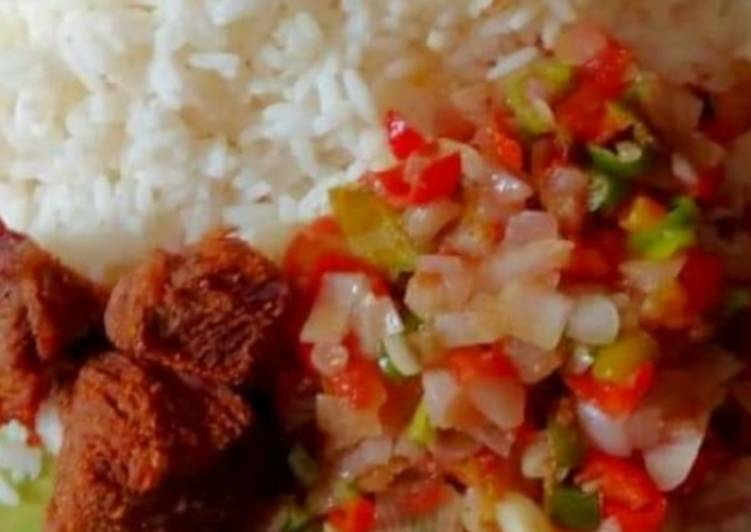 How to Prepare Perfect White rice and fried veggies