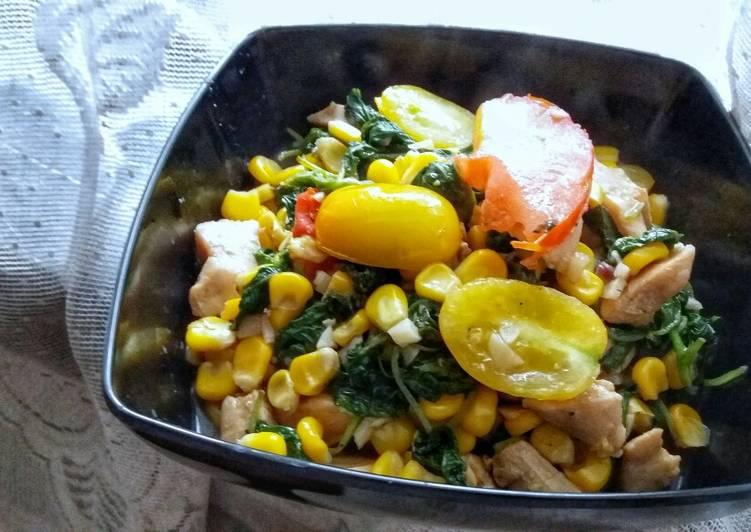 Stir Fried Chicken and Spinach