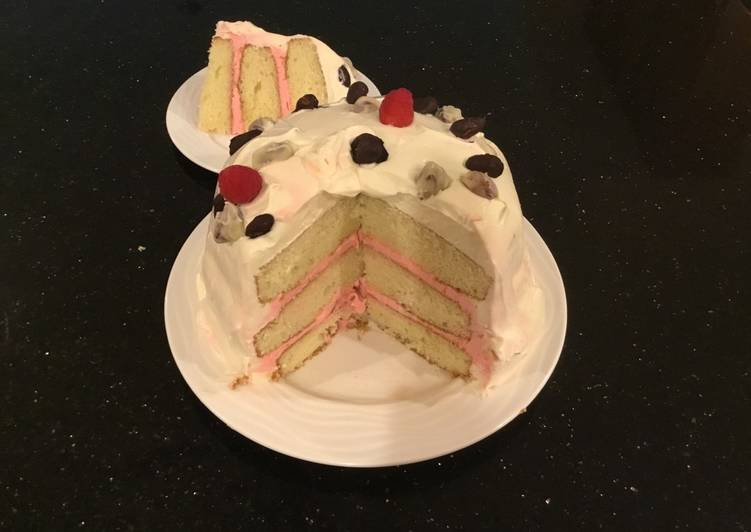 Almond Layer Cake with Rasberry Cream Filling