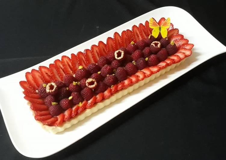 La Recette Pas à Pas Tarte fraises framboises