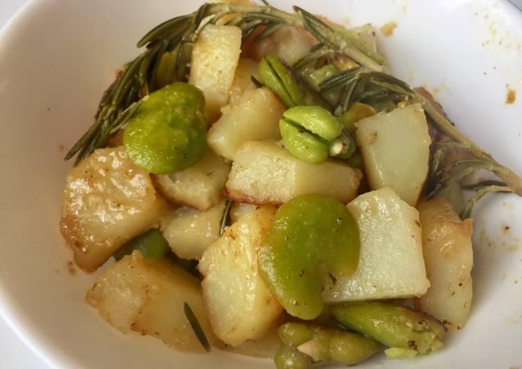 Ragoût de pommes de terre, fèves et romarin