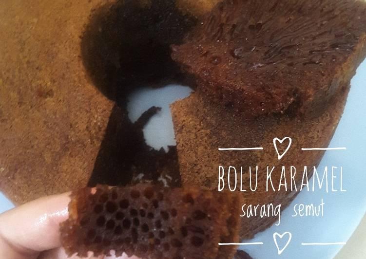 cara masak Bolu karamel sarang semut - Sajian Dapur Bunda