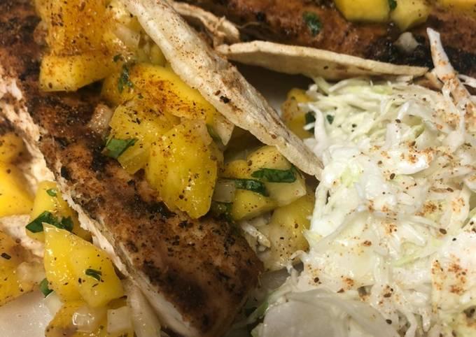 Grilled Mahi Tacos with Pineapple Mango Salsa