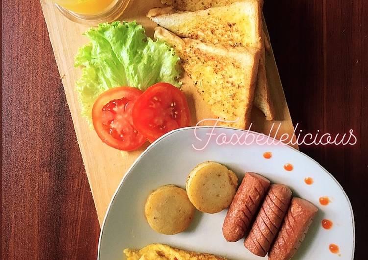 Resep Omelette & garlic bread (english breakfast) Favorit