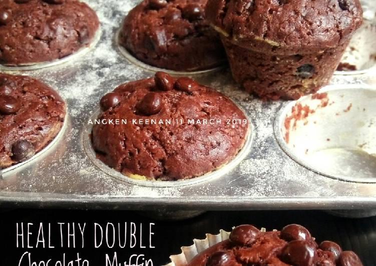Healthy Double Chocolate Muffin (No egg, No Butter, No mixer)