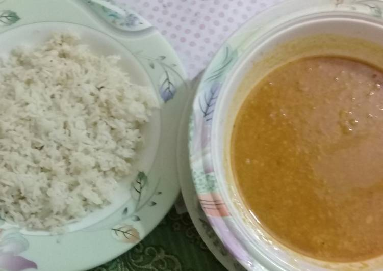 Moong dal with boiled rice