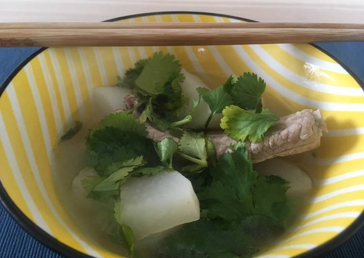 How to Make Quick Pork rib radish soup with coriander 🌿