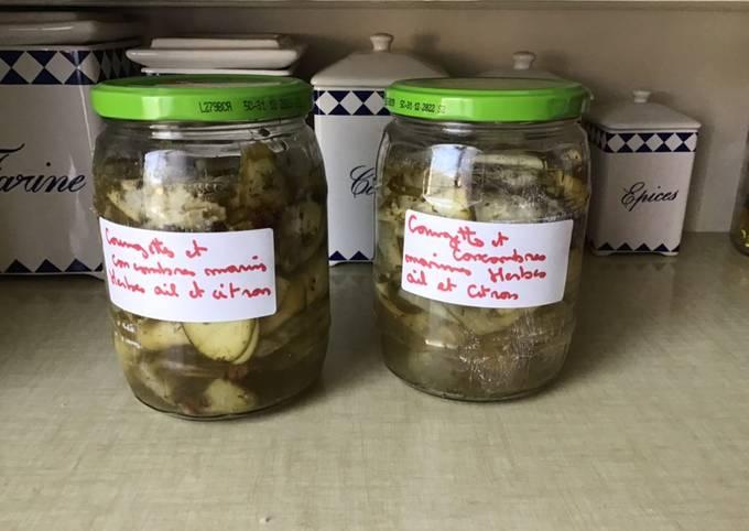 Tagliatelles de courgette et concombre marinés herbes ail et citron