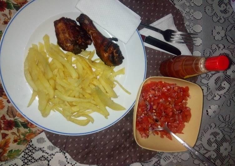 Easiest Way to Make Favorite Soy sauce baked chicken,potato fries + kachumbari
