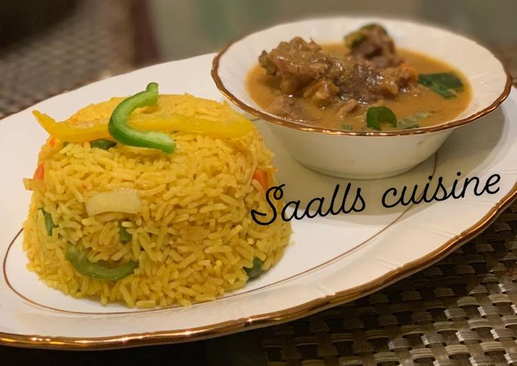 Turmeric rice and beef curry