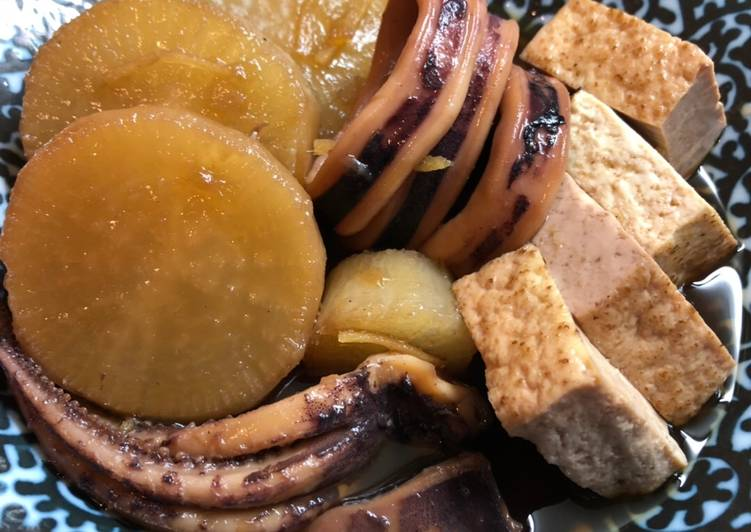 Recipe of Any-night-of-the-week Squid and Daikon (Ikadaikon)