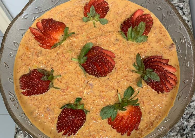 Carrot & strawberry Rabdi Pudding For Valentine Day