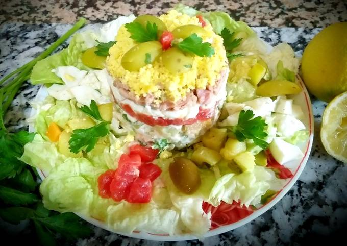 .mimosa egg salad made with vegetables, tuna.😝