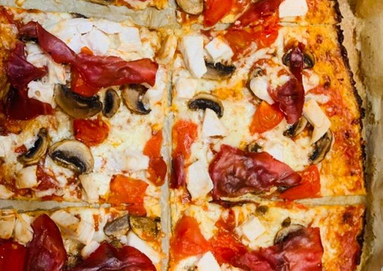 Recipe: Yummy Cauliflower Pizza Base With Bresaola and Mushrooms For Jamo