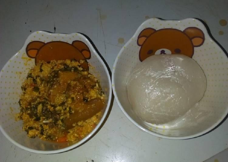 Simple Way to Prepare Homemade Egusi soup and akpu