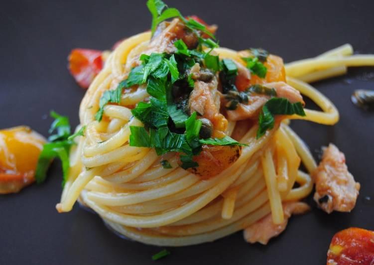 Ricetta Spaghetti con tonno, olive e pomodorini rossi e gialli 🐟🍅🍝😋