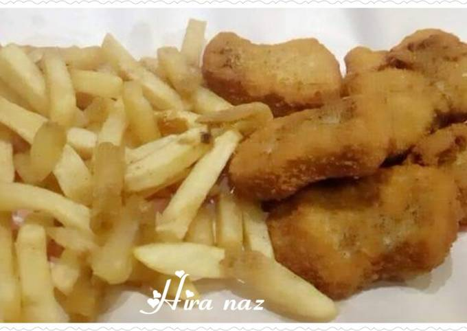 Chicken Cutlets with French Fries