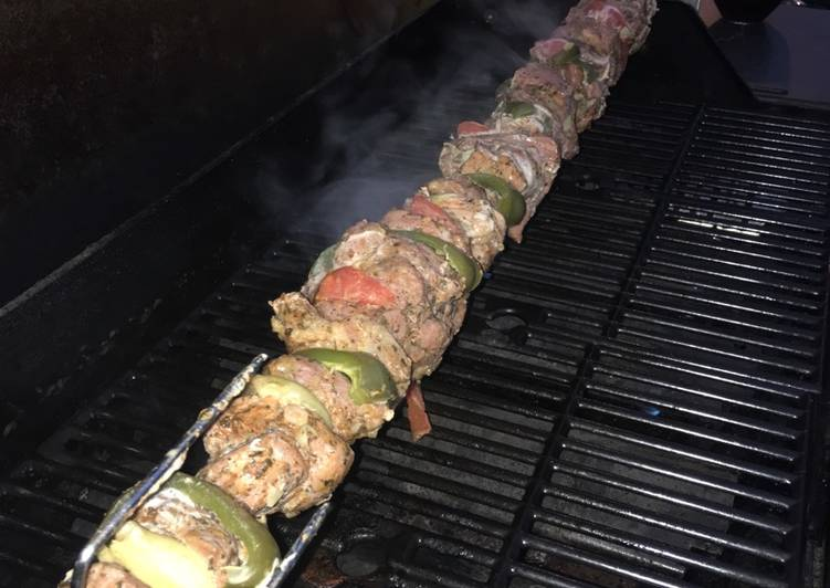 Whiskey pork kebab