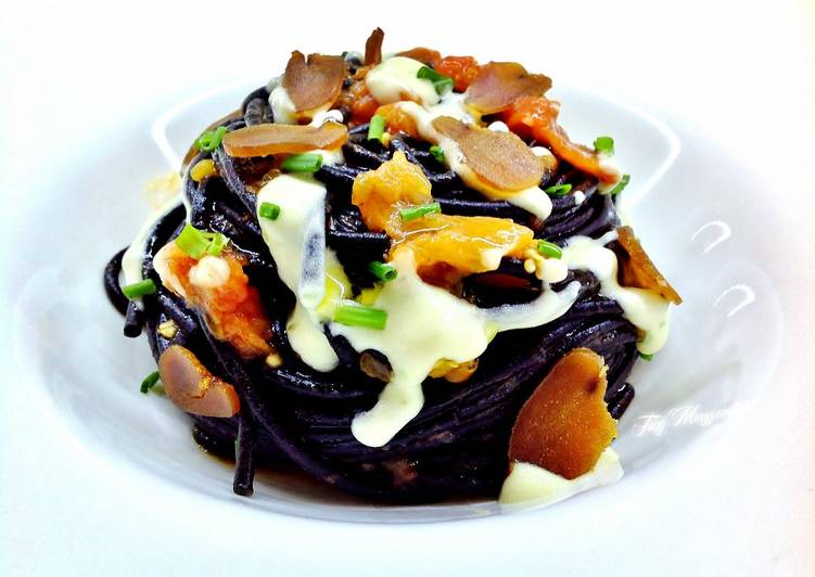 Easiest Way to Make Perfect Spaghetti with cuttlefish ink with shallot cream and bottarga