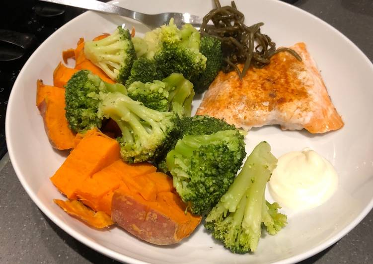 Salmon and simple veg