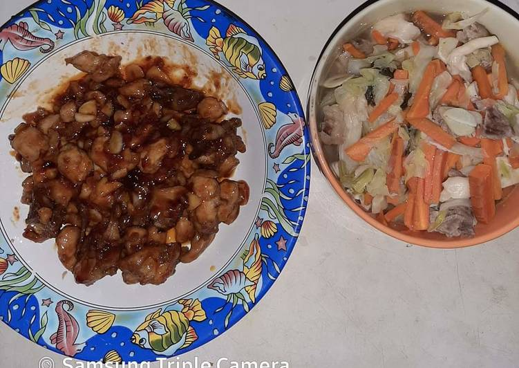 Sweet and Spicy Chicken dan Sup Daging Enoki Kembang Kol