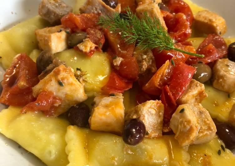 Ravioli ricotta e spinaci Con dadolata di spada