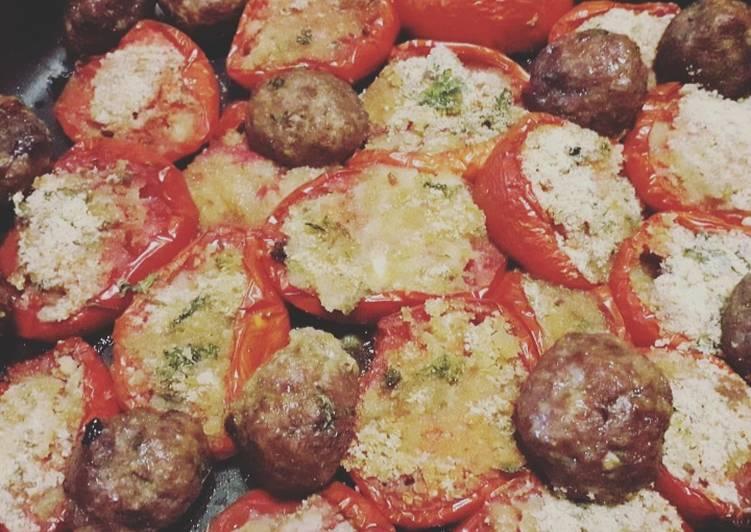 Pomodori gratinati e polpette