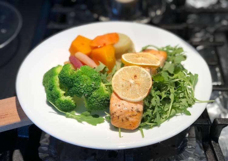 Cá hồi nướng chanh tỏi-Air fryer