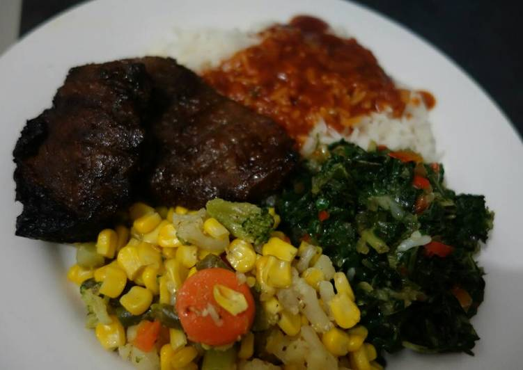 Smoked Rump steak and mixed vegetables